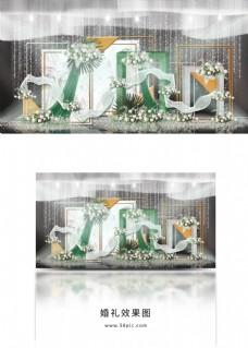 祖母绿方柱拱门金色装饰大理石纹婚礼效果图