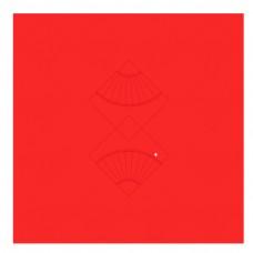 中国风扇形大红装饰边框图