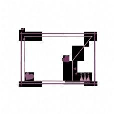 女王节边框之紫色系线性边框免抠素材