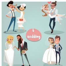 矢量新郎新娘婚礼素材