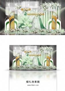 轻奢墨绿色白色大理石纹背景金饰婚礼效果图