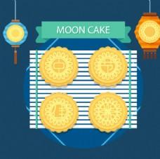 4块美味中秋节月饼矢量素材