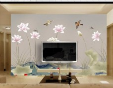 新中式素雅荷花手绘花鸟背景墙壁