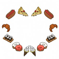 卡通心形美食边框插画