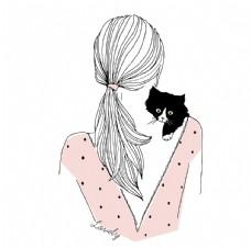 女孩和小猫的背影