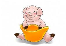 抱着金元宝的小猪