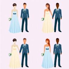 扁平化风格的新娘新郎人物素材