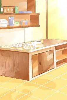 暖色系的厨房一角背景