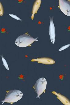 创意简约小鱼底纹装饰海报背景