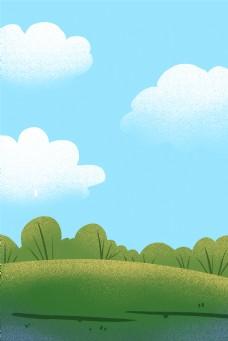 卡通绿色的风景免抠图