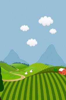 自然风景卡通美丽乡村景色