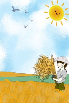 五一劳动节卡通农民背景