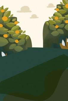 卡通春天出游的风景背景