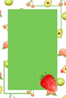 绿色背景水果边框