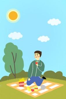卡通简约春天游玩野餐的男孩海报背景