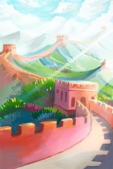 彩色长城风景背景