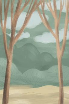 文艺清新户外水彩森林卡通背景