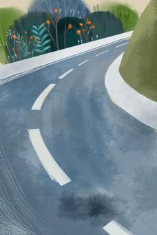 卡通灰色的公路免抠图