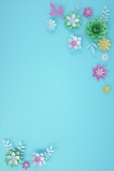 情人节女王节C4D立体花唯美花朵背景