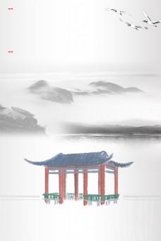 简单大气中国风建筑背景