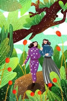 卡通两个女孩在树丛中行走背景