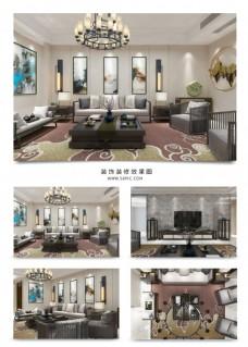 中式意境客厅装饰装修效果图