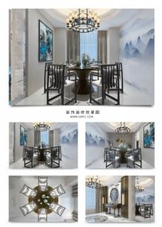 中式意境餐厅装饰装修效果图