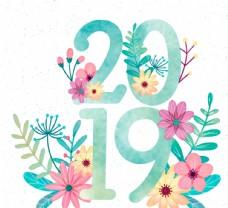 2019艺术字彩绘花卉