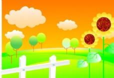 现代 简约 框框 方框 向日葵