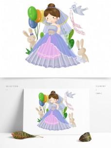 手绘新娘森林公主小清新宠物