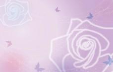 梦幻线条玫瑰蝴蝶