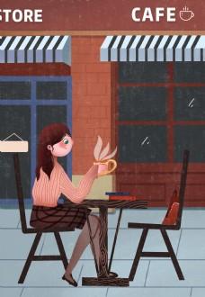 文艺卡通女孩喝咖啡背景