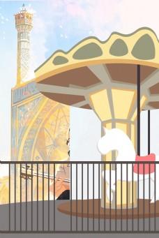 卡通游乐园旋转木马背景