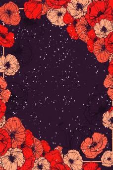 红色罂粟花边框深色背景