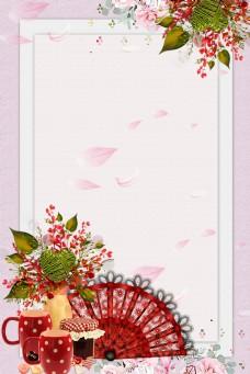古风花卉扇子边框背景