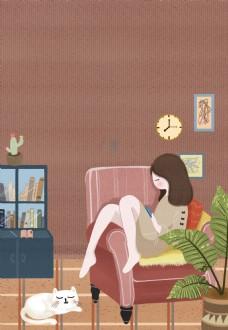 周末窝在家可爱卡通女孩休息背景
