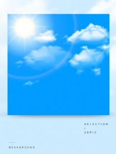 矢量简约蓝天白云太阳背景