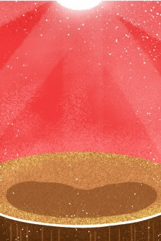 卡通红色背景和舞台免抠图