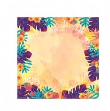 熱帶植物花卉邊框矢量素材