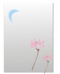 荷花 月亮 卡通 绘图