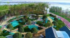 航拍清华海东湖西边道路绿化美景