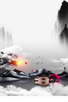 高端典雅水墨古风房地产海报背景
