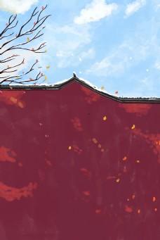 冬日唯美下雪城墙中国风图背景