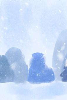 蓝色创意圆弧雪景背景