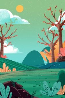 卡通绿色的森林和山坡免抠图