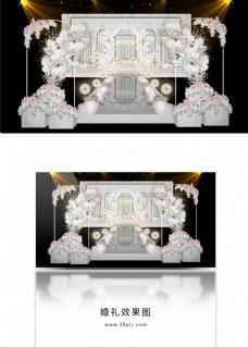 轻奢白色大理石婚礼舞台效果图