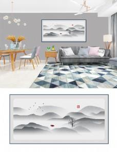 中式禅意黑白水墨山峦横式客厅装饰画