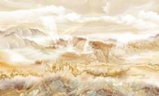 江山如画大理石纹山水电视背景墙