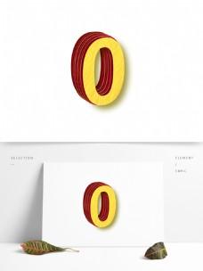 矢量立体3D数字0元素