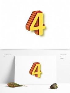 204矢量3D数字艺术字4设计元素